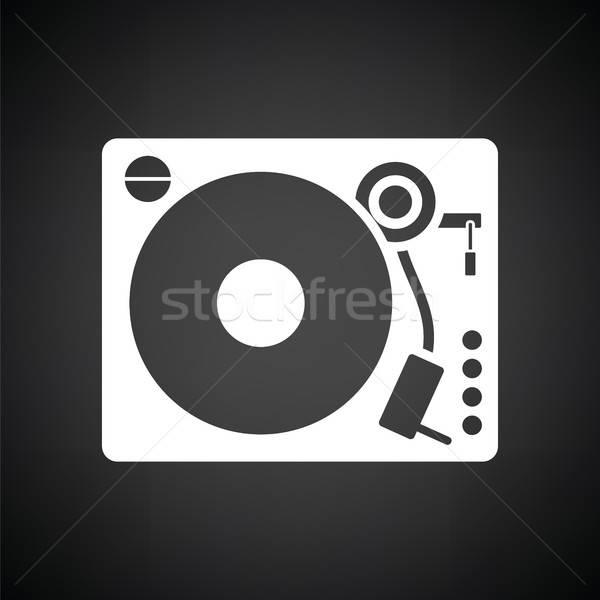 Bakelit játékos ikon feketefehér felirat diszkó Stock fotó © angelp