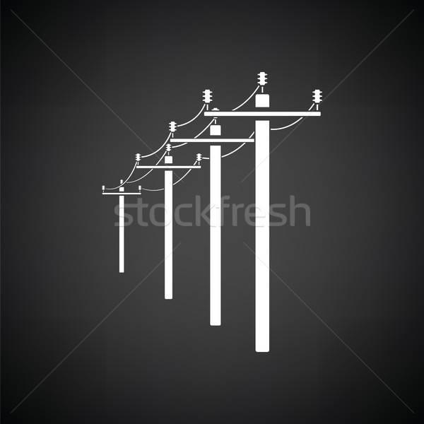 высокое напряжение линия икона черно белые технологий городского Сток-фото © angelp