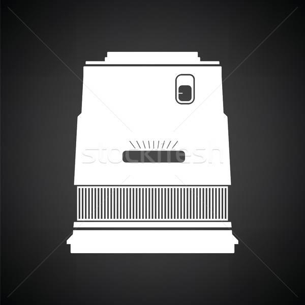Icono foto cámara amplio lente blanco negro Foto stock © angelp