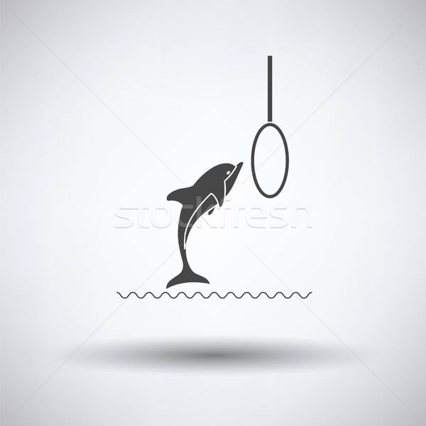 Saltar golfinho ícone cinza vida parque Foto stock © angelp