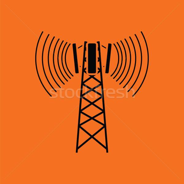 Hücresel yayın anten ikon turuncu siyah Stok fotoğraf © angelp