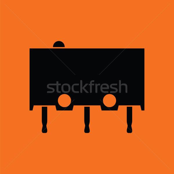 Micro pulsante icona arancione nero rosso Foto d'archivio © angelp
