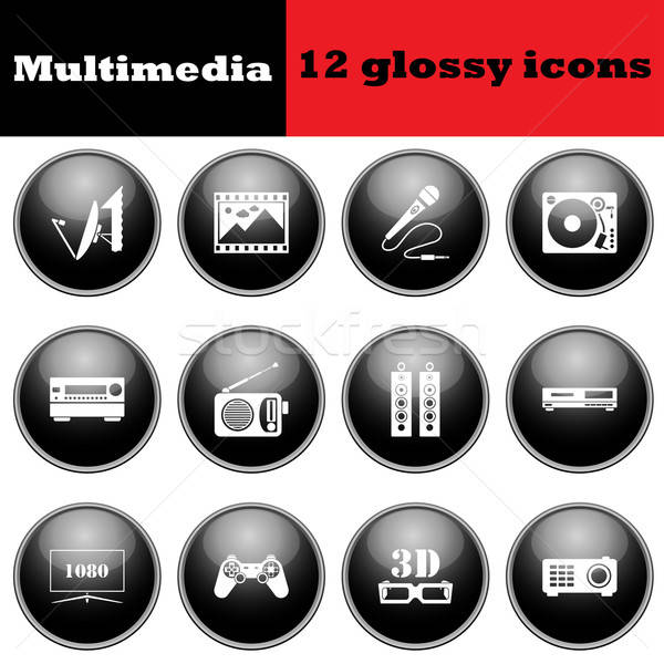 Set of multimedia glossy icons Stock photo © angelp