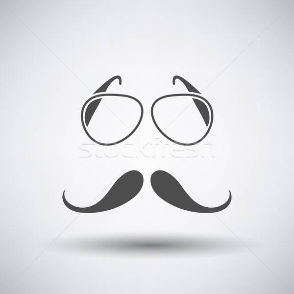 Verres moustache icône gris fête visage Photo stock © angelp