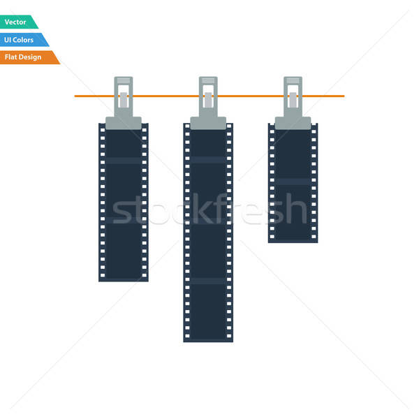 Flat design icon of photo film drying on rope with clothespin Stock photo © angelp