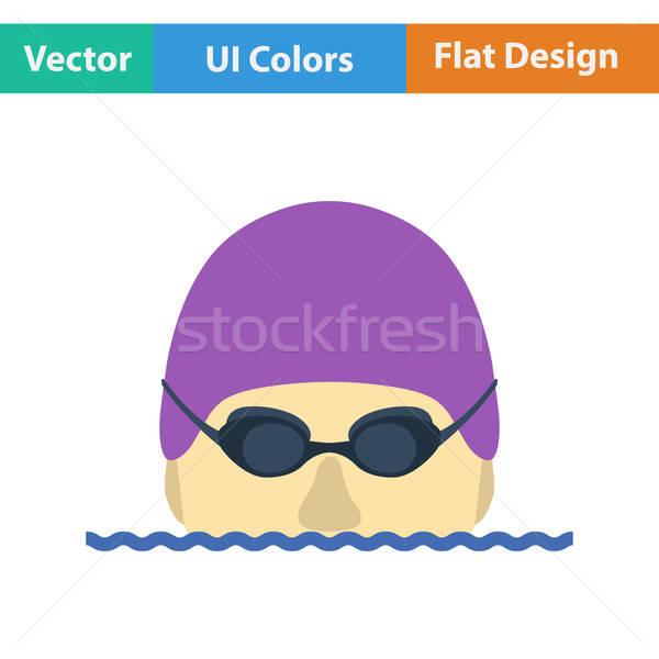 Foto stock: Projeto · ícone · natação · homem · cabeça · óculos · de · proteção