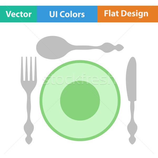 дизайна икона столовое серебро пластина фон кухне Сток-фото © angelp