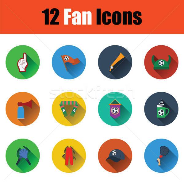 Set of twelve soccer icons Stock photo © angelp