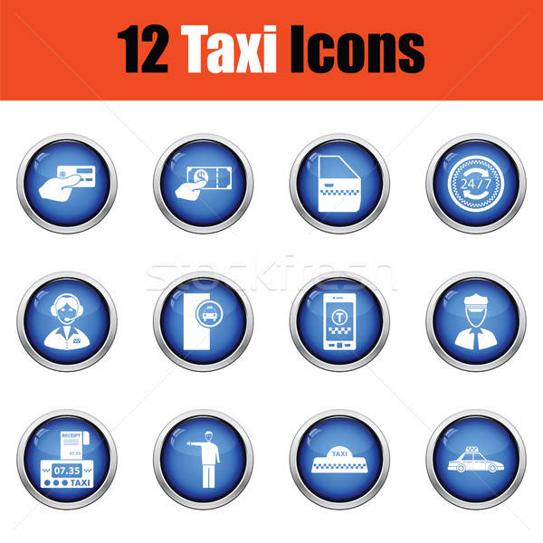 Ingesteld twaalf taxi iconen glanzend Stockfoto © angelp
