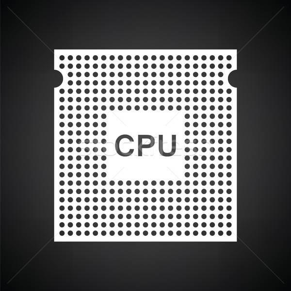 CPU icono blanco negro red web negro Foto stock © angelp