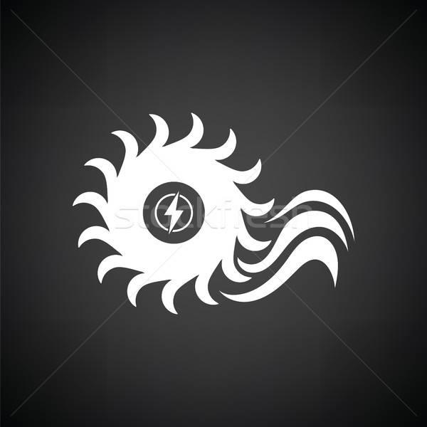 Víz turbina ikon feketefehér felirat fekete Stock fotó © angelp