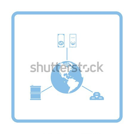 Oil, dollar and gold with planet concept icon Stock photo © angelp