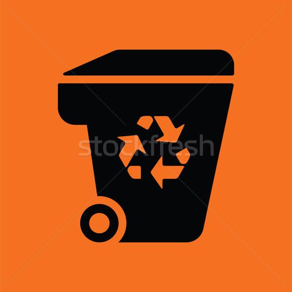 Garbage contenitore riciclare segno icona arancione Foto d'archivio © angelp