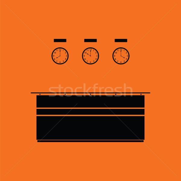 Biuro recepcji biurko ikona pomarańczowy czarny Zdjęcia stock © angelp