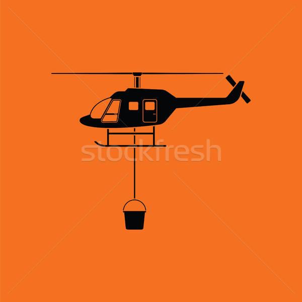 Tűz szolgáltatás helikopter ikon narancs fekete Stock fotó © angelp