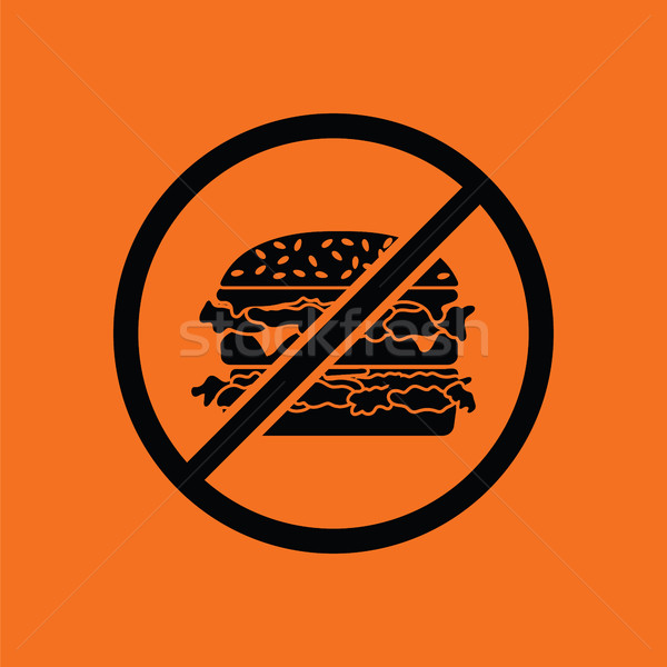 Tilos hamburger ikon narancs fekete felirat Stock fotó © angelp