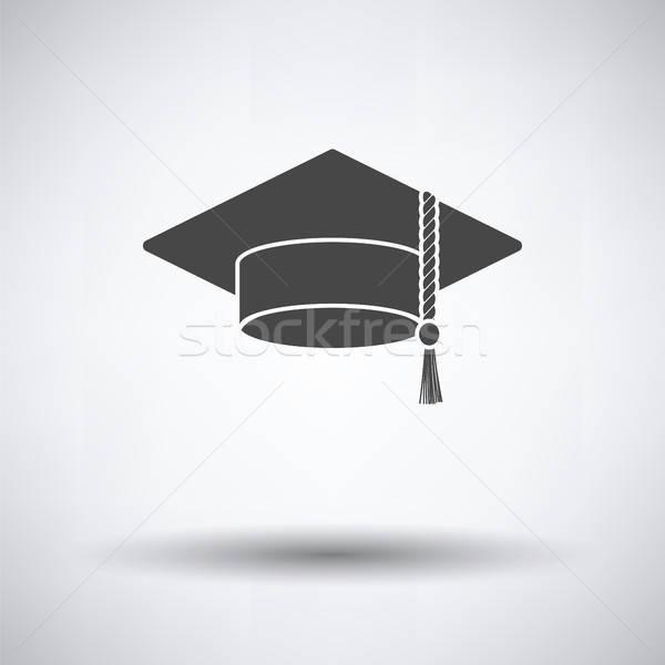 Afstuderen cap icon grijs school student Stockfoto © angelp