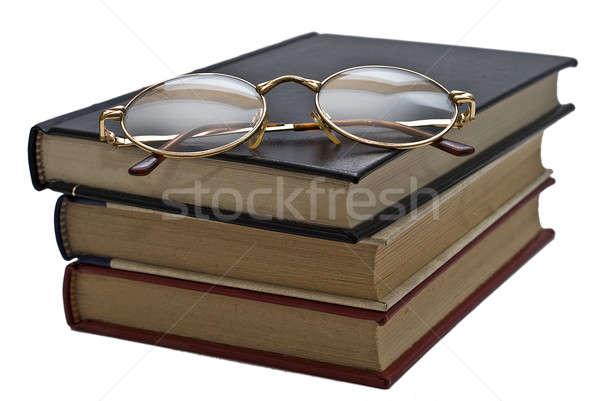 Bril boek oude boeken paar geïsoleerd Stockfoto © angelsimon