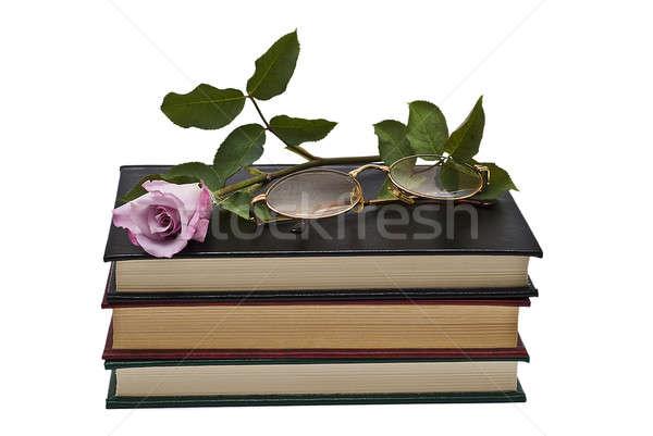 Steeg boek bril oude boeken paar Stockfoto © angelsimon