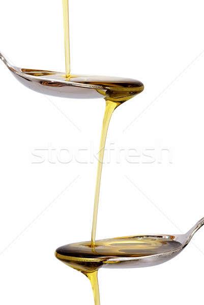 Kaşık zeytinyağı kaşık beyaz doku gıda Stok fotoğraf © angelsimon