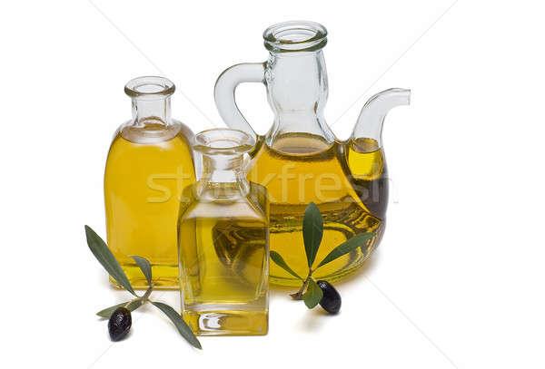Vidro azeite garrafas virgem azeitonas isolado Foto stock © angelsimon