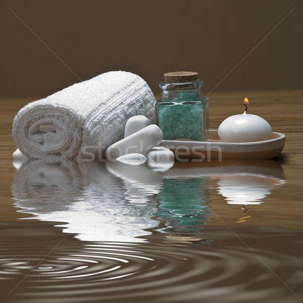 Towel, candle and bath salts. Stock photo © angelsimon