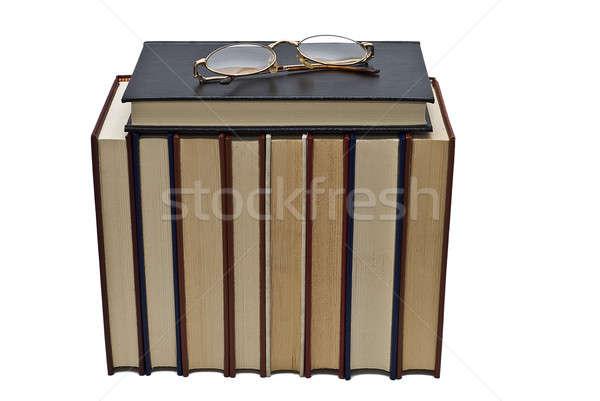 Bril lezing boek oude boeken paar Stockfoto © angelsimon