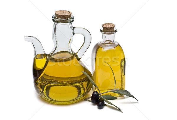 Stockfoto: Twee · olijfolie · maagd · olijven · geïsoleerd · witte