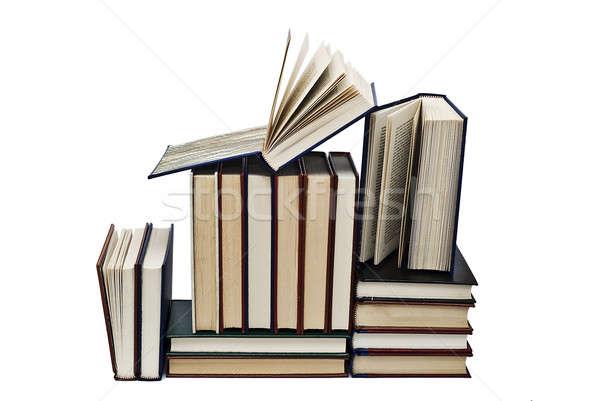 Kitaplar beyaz eski yalıtılmış okul öğrenci Stok fotoğraf © angelsimon