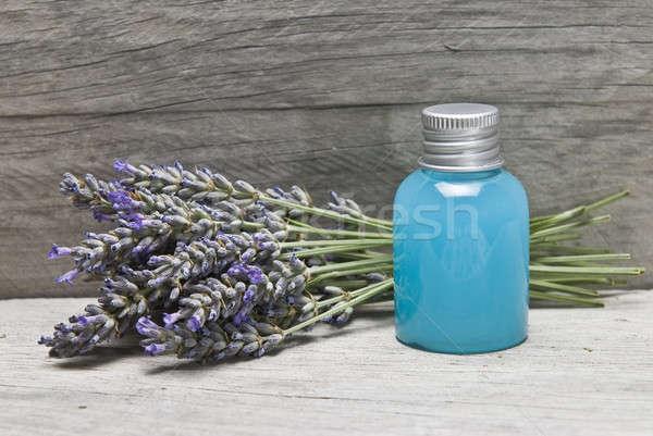 Lavendel gel plank hygiëne oude houten Stockfoto © angelsimon