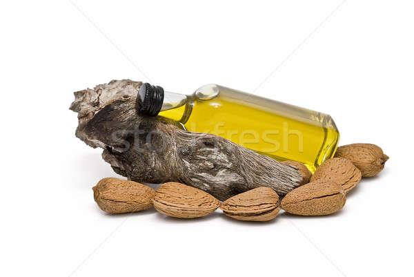 Stockfoto: Fles · amandel · olie · tak · amandelen · geïsoleerd