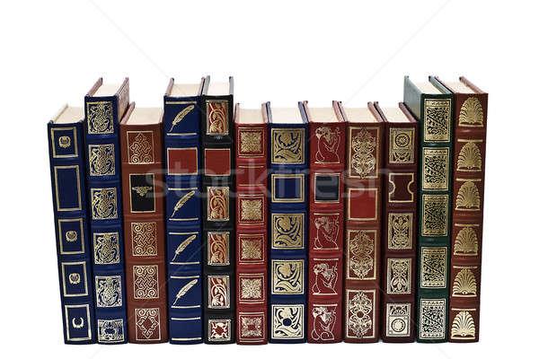 Kitaplar toplama eski yalıtılmış beyaz okul Stok fotoğraf © angelsimon