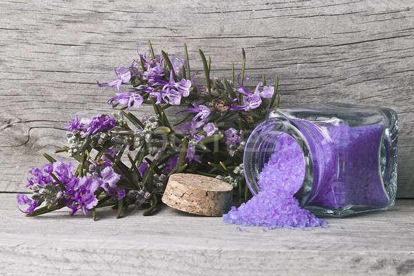 Open jar rosmarijn bad bloemen Stockfoto © angelsimon