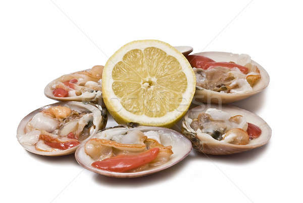 Fresh clams and lemon. Stock photo © angelsimon