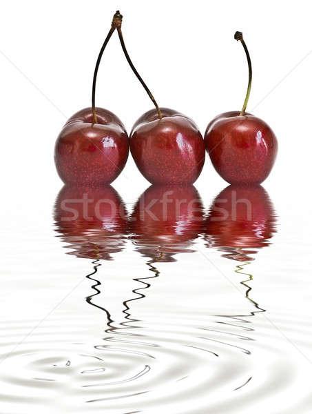 üç kiraz su taze beyaz meyve Stok fotoğraf © angelsimon