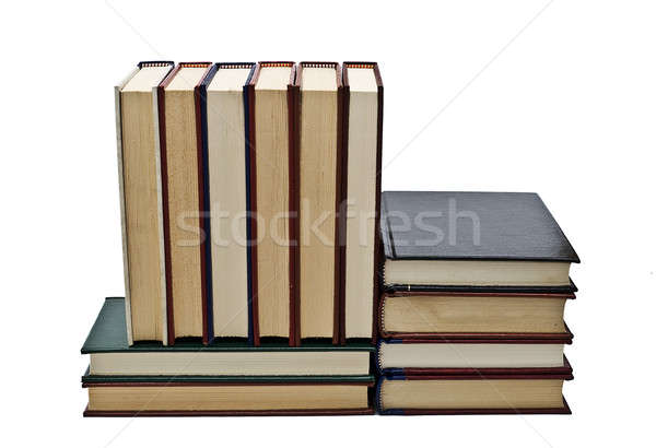 Boeken oude geïsoleerd witte school student Stockfoto © angelsimon