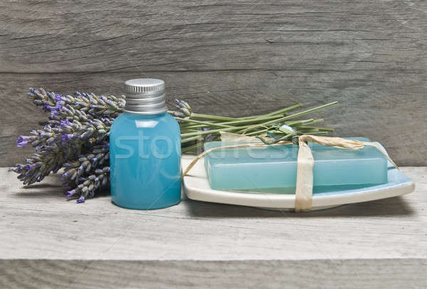 Foto stock: Lavanda · prateleira · higiene · velho · natureza