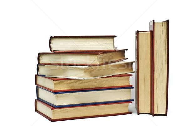 Sekiz kitaplar beyaz eski yalıtılmış okul Stok fotoğraf © angelsimon