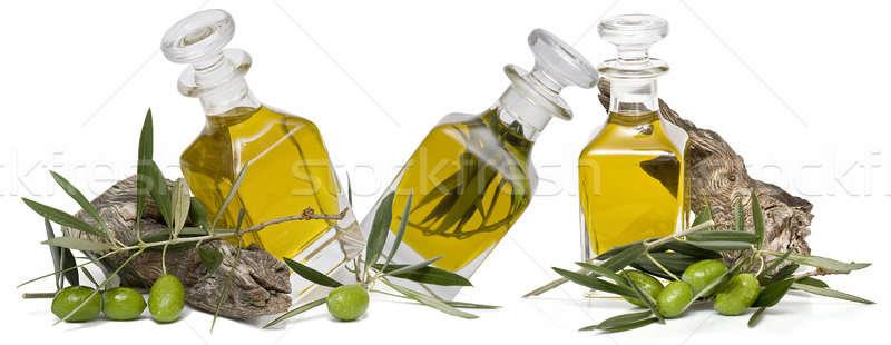 Drie flessen olie maagd olijfolie olijven Stockfoto © angelsimon