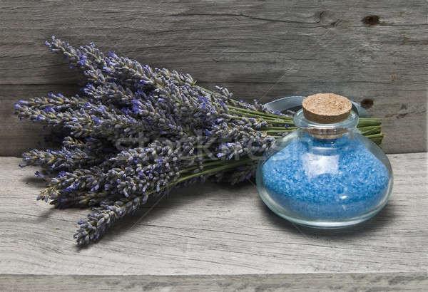 Vers lavendel bad hygiëne oude houten Stockfoto © angelsimon