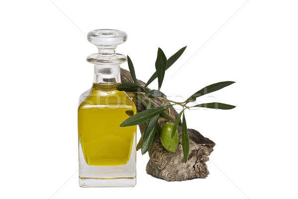 Zeytinyağı şişe zeytin şube bakire zeytin Stok fotoğraf © angelsimon