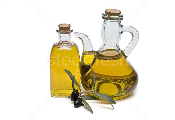 Paar olie maagd olijfolie olijven geïsoleerd Stockfoto © angelsimon