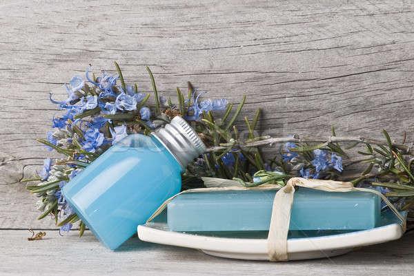 Rozmaryn żel mydło kwiaty starych Zdjęcia stock © angelsimon