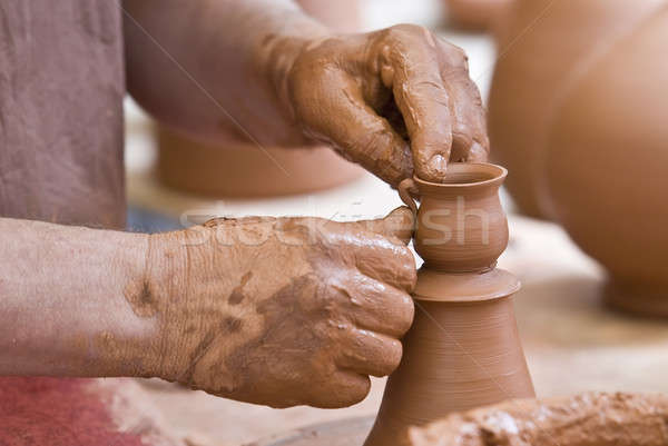 Finishing a little pot. Stock photo © angelsimon