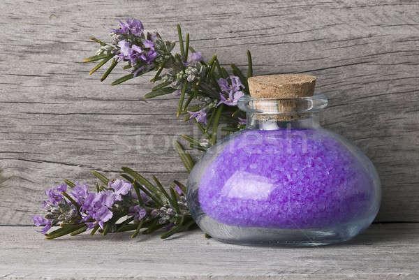 Stok fotoğraf: Biberiye · banyo · çiçekler · eski · ahşap