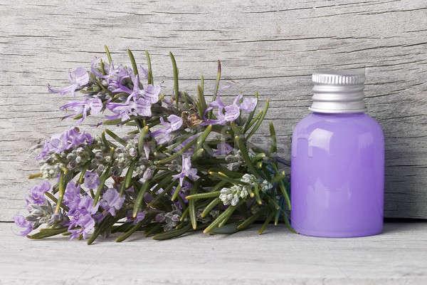 Fles rosmarijn gel bloemen oude Stockfoto © angelsimon