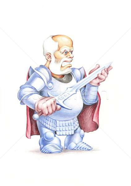 Cavaliere spada guerriero disegno scansione Foto d'archivio © animagistr