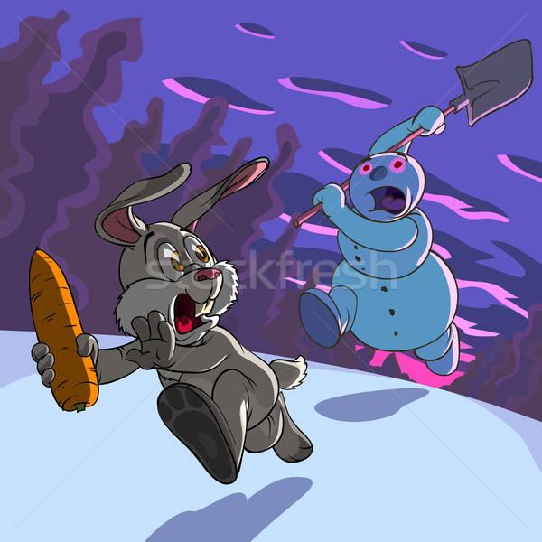 Dief haas sneeuwpop wolken ontwerp Stockfoto © animagistr