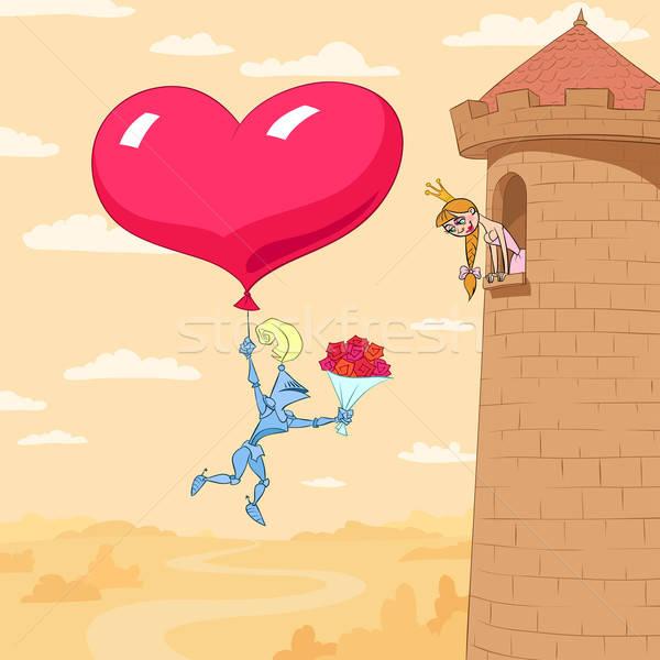 Saint valentin princesse tour chevalier coeur Photo stock © animagistr