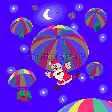 Karácsony ejtőernyő leszállás mikulás mondatrész ajándékok Stock fotó © animagistr